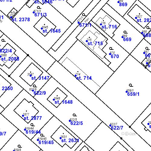 Katastrální mapa Parcela 714 na katastrálním území Neratovice