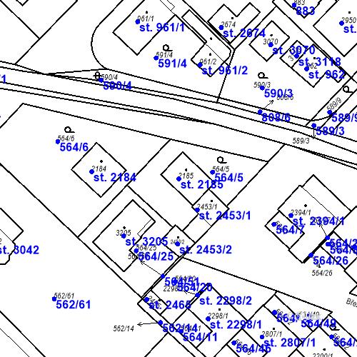 Katastrální mapa Parcela 2185 na katastrálním území Neratovice