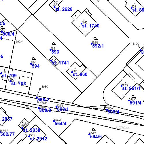 Katastrální mapa Parcela 960 na katastrálním území Neratovice
