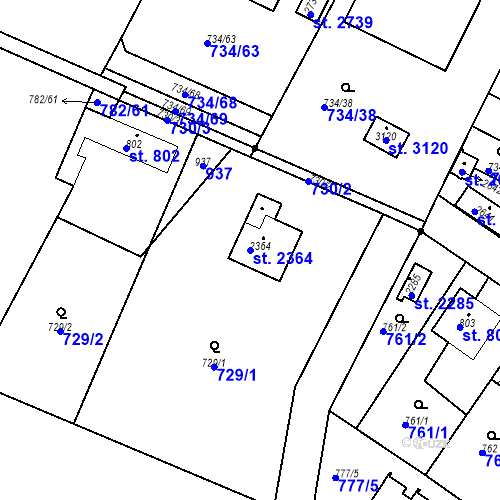 Katastrální mapa Parcela 2364 na katastrálním území Neratovice