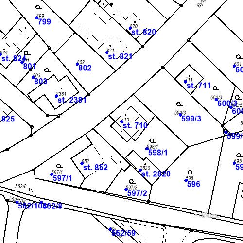 Katastrální mapa Parcela 710 na katastrálním území Neratovice