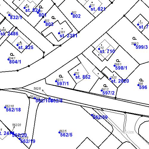 Katastrální mapa Parcela 852 na katastrálním území Neratovice