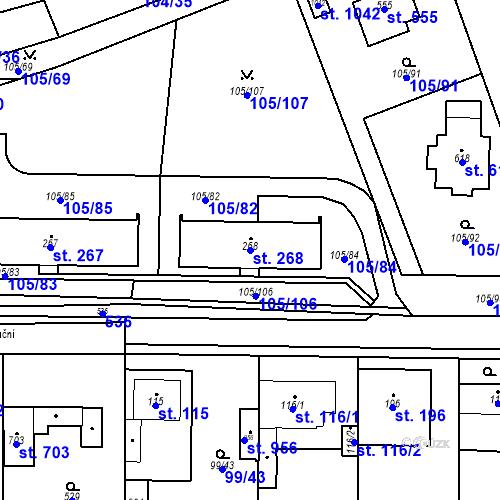 Katastrální mapa Parcela 268 na katastrálním území Měšice u Prahy