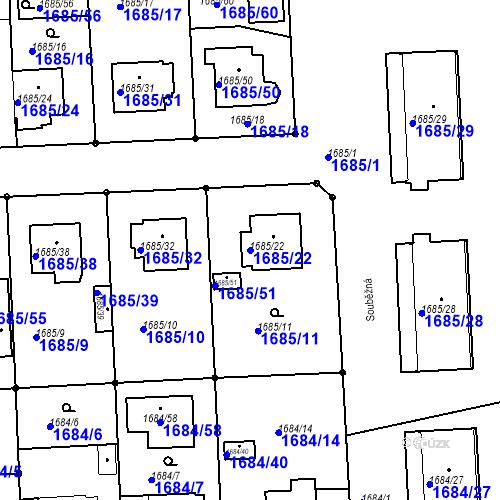 Katastrální mapa Parcela 1685/22 na katastrálním území Třeboň