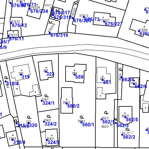 Katastrální mapa Parcela 559 na katastrálním území Újezd u Průhonic