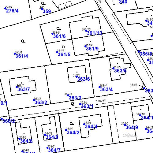 Katastrální mapa Parcela 363/6 na katastrálním území Újezd u Průhonic