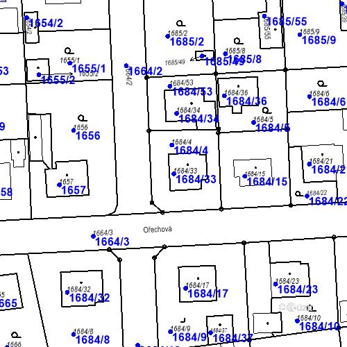 Katastrální mapa Parcela 1684/33 na katastrálním území Třeboň