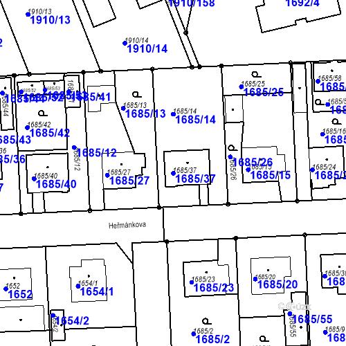 Katastrální mapa Parcela 1685/37 na katastrálním území Třeboň
