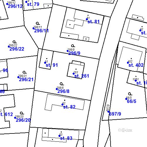 Katastrální mapa Parcela 261 na katastrálním území Osnice
