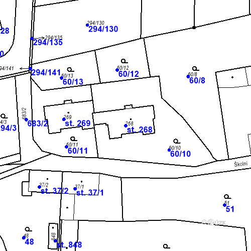 Katastrální mapa Parcela 268 na katastrálním území Osnice