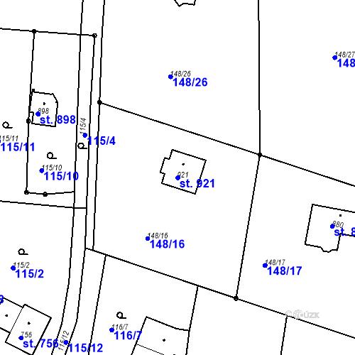 Katastrální mapa Parcela 921 na katastrálním území Krhanice