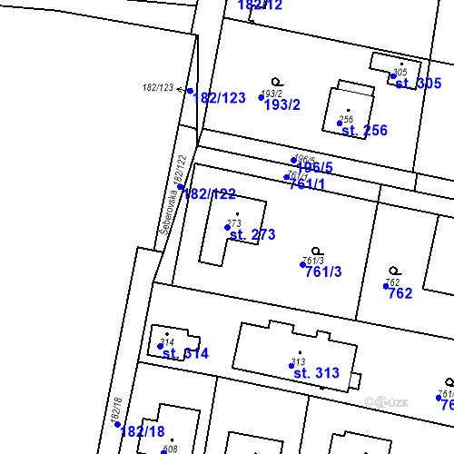 Katastrální mapa Parcela 273 na katastrálním území Osnice