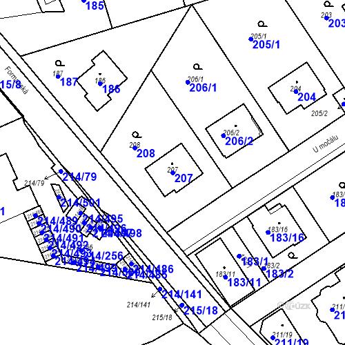 Katastrální mapa Parcela 207 na katastrálním území Újezd u Průhonic