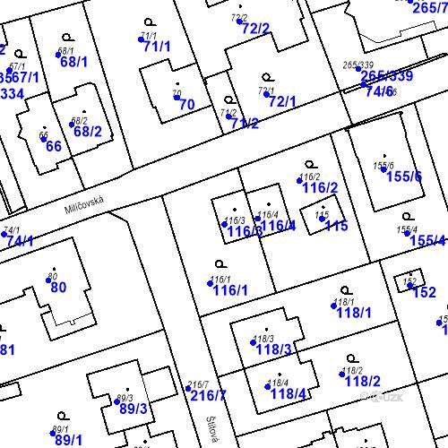 Katastrální mapa Parcela 116/3 na katastrálním území Újezd u Průhonic