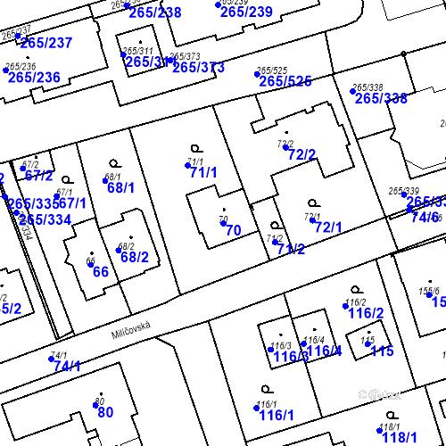 Katastrální mapa Parcela 70 na katastrálním území Újezd u Průhonic