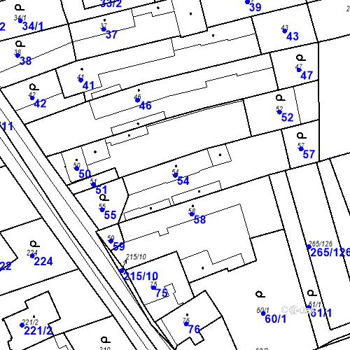 Katastrální mapa Parcela 54 na katastrálním území Újezd u Průhonic
