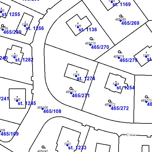 Katastrální mapa Parcela 1274 na katastrálním území Dolní Jirčany