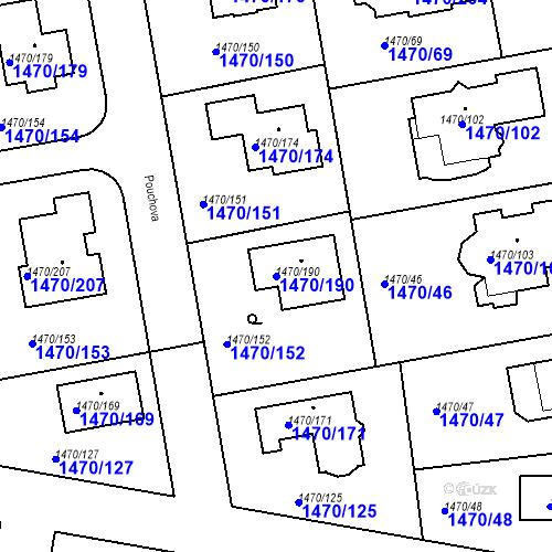 Katastrální mapa Parcela 1470/190 na katastrálním území Šeberov