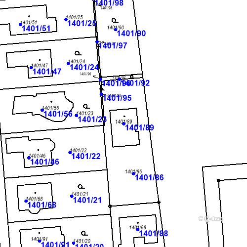 Katastrální mapa Parcela 1401/89 na katastrálním území Šeberov