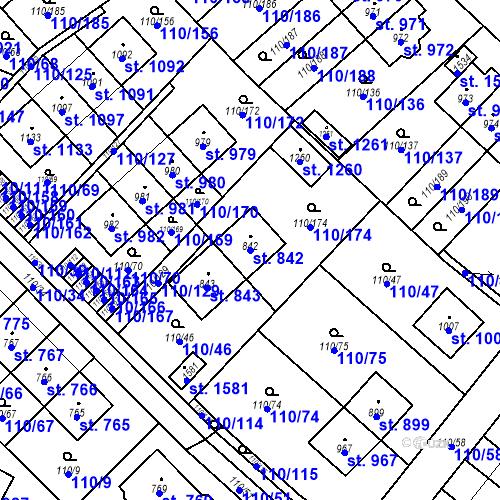 Katastrální mapa Parcela 842 na katastrálním území Dolní Jirčany