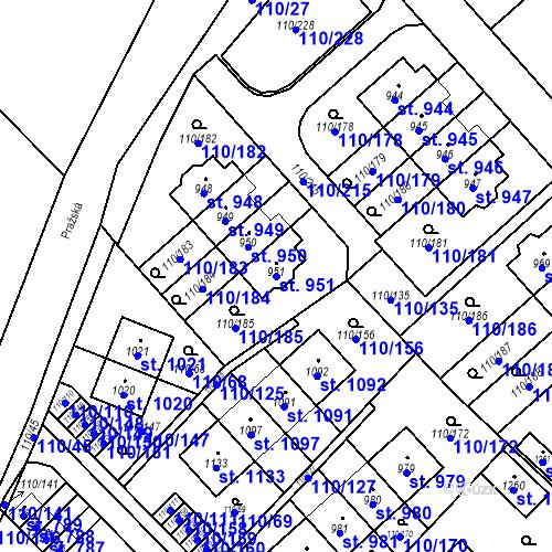 Katastrální mapa Parcela 951 na katastrálním území Dolní Jirčany