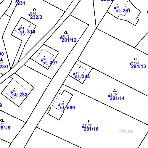 Katastrální mapa Parcela 344 na katastrálním území Dolní Poustevna