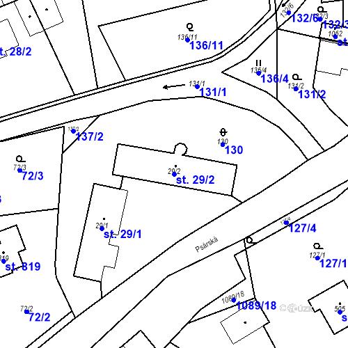 Katastrální mapa Parcela 29/2 na katastrálním území Psáry