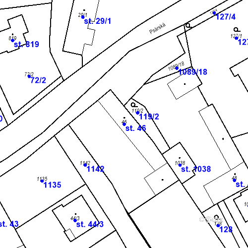 Katastrální mapa Parcela 46 na katastrálním území Psáry