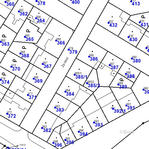 Katastrální mapa Parcela 385/1 na katastrálním území Záběhlice