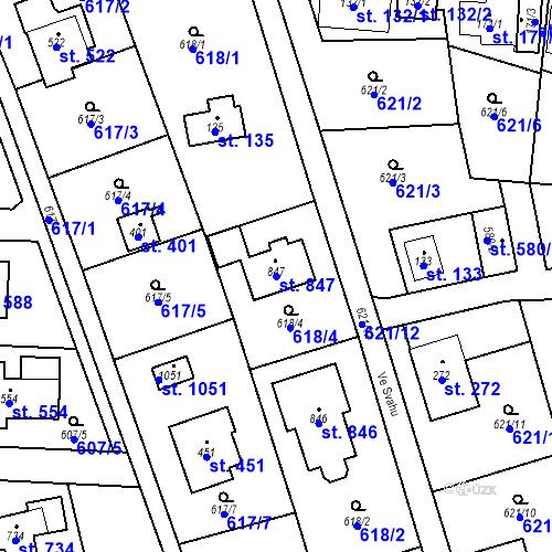 Katastrální mapa Parcela 847 na katastrálním území Psáry