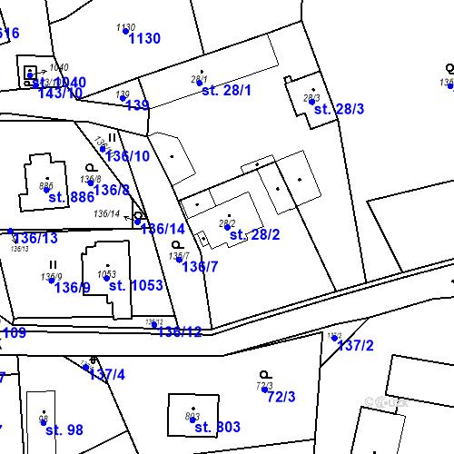 Katastrální mapa Parcela 28/2 na katastrálním území Psáry