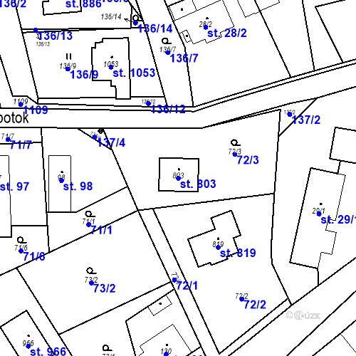 Katastrální mapa Parcela 803 na katastrálním území Psáry