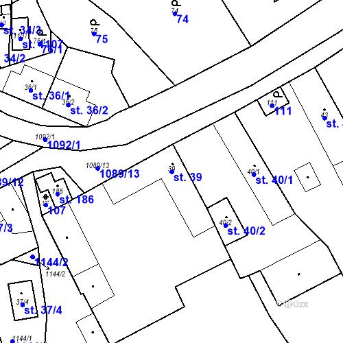 Katastrální mapa Parcela 39 na katastrálním území Psáry