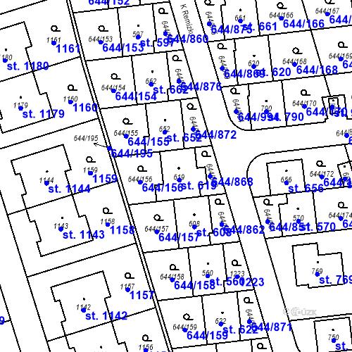 Katastrální mapa Parcela 619 na katastrálním území Vestec u Prahy