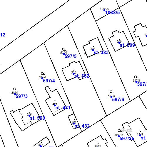 Katastrální mapa Parcela 382 na katastrálním území Psáry