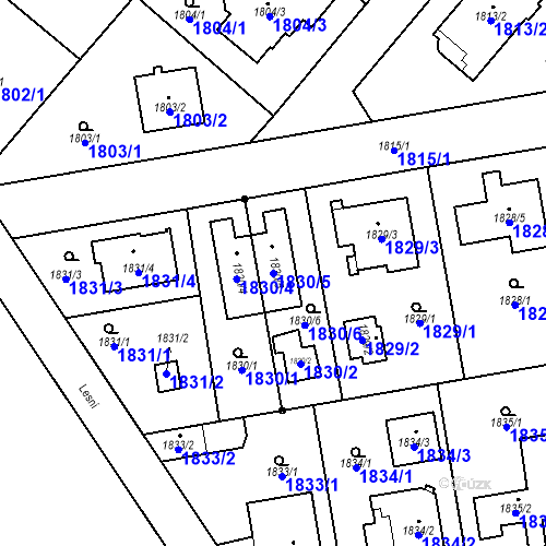 Katastrální mapa Parcela 1830/5 na katastrálním území Kunratice