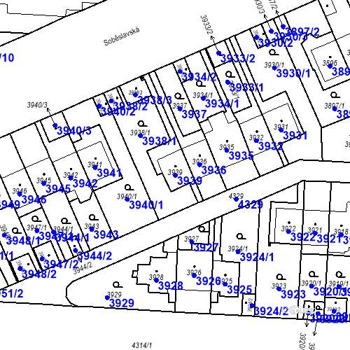 Katastrální mapa Parcela 3939 na katastrálním území Vinohrady