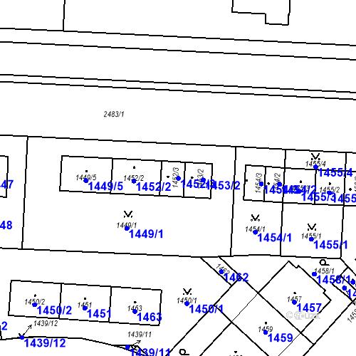 Katastrální mapa Parcela 1452/3 na katastrálním území Vršovice