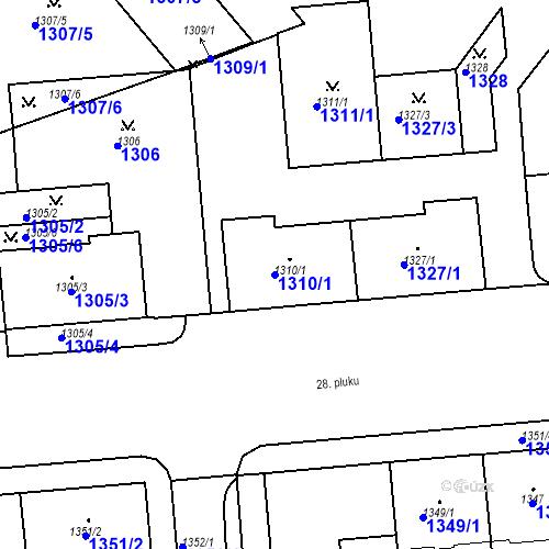 Katastrální mapa Parcela 1310/1 na katastrálním území Vršovice