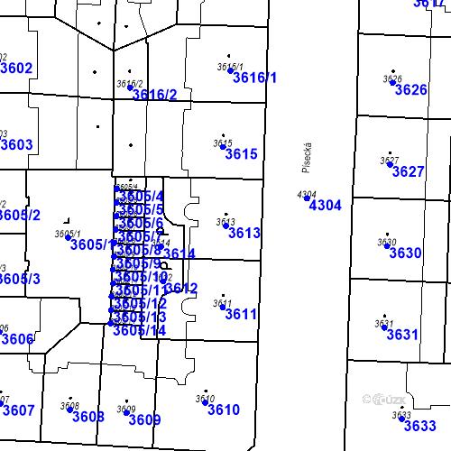 Katastrální mapa Parcela 3613 na katastrálním území Vinohrady