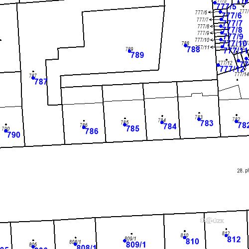 Katastrální mapa Parcela 785 na katastrálním území Vršovice