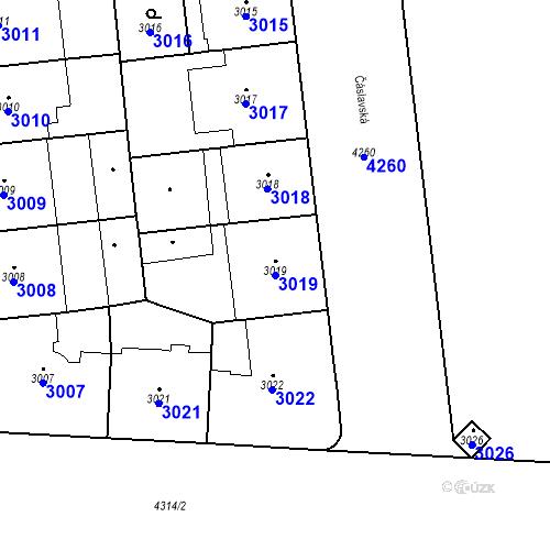 Katastrální mapa Parcela 3019 na katastrálním území Vinohrady