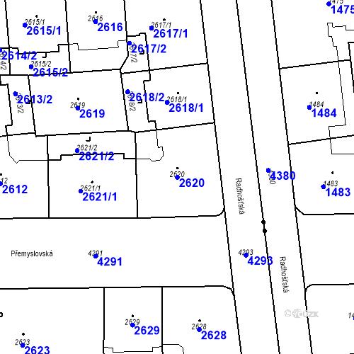 Katastrální mapa Parcela 2620 na katastrálním území Vinohrady