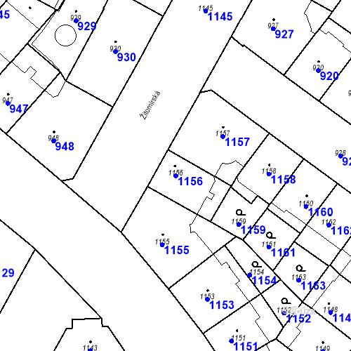 Katastrální mapa Parcela 1156 na katastrálním území Vršovice
