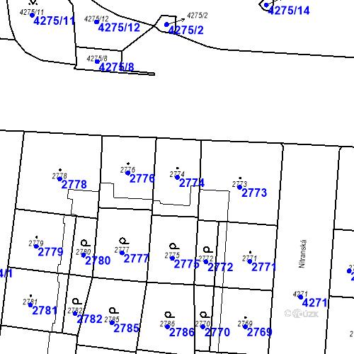 Katastrální mapa Parcela 2774 na katastrálním území Vinohrady