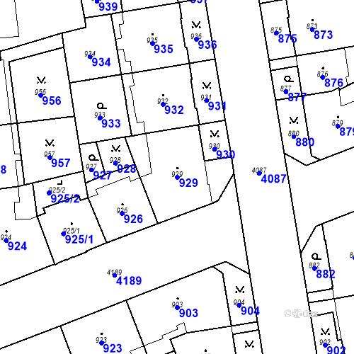 Katastrální mapa Parcela 929 na katastrálním území Vinohrady