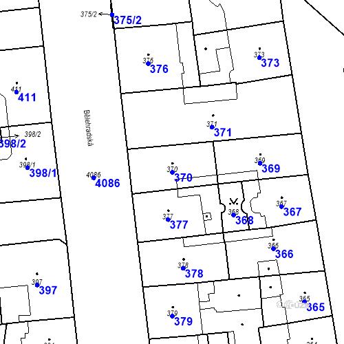 Katastrální mapa Parcela 370 na katastrálním území Vinohrady