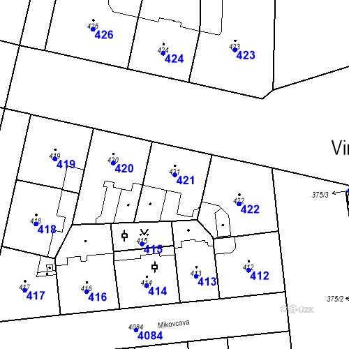 Katastrální mapa Parcela 421 na katastrálním území Vinohrady