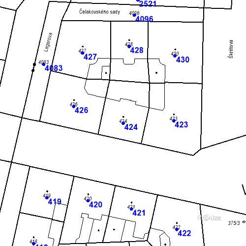 Katastrální mapa Parcela 424 na katastrálním území Vinohrady