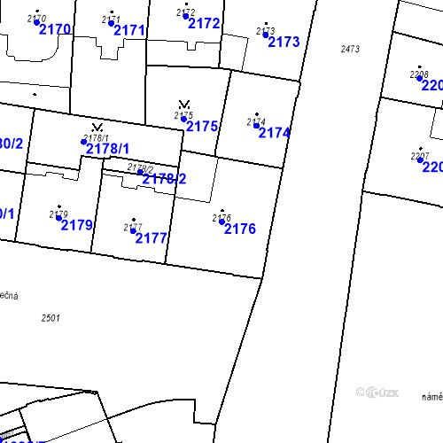 Katastrální mapa Parcela 2176 na katastrálním území Nové Město